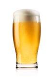 La bière blonde avec la mousse a versé dans le verre photographie stock