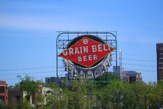 La bière de ceinture de grain signent dedans Minneapolis photos stock