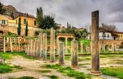 La biblioteca di Hadrian a Atene Immagini Stock