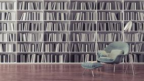 La biblioteca domestica moderna, l'interior design 3D rende illustrazione vettoriale