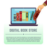 La biblioteca electrónica, documentos en línea, librería digital, libros en la pantalla de ordenador vector concepto de la educac Fotografía de archivo