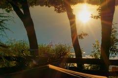 La bici al sole che si accampa, il tramonto, il sole riflesso nell'acqua, il sole attraversa gli alberi Immagini Stock Libere da Diritti