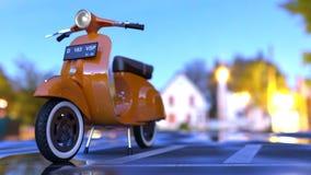 La bici arancio riempie di pozzanghere la strada Immagini Stock Libere da Diritti
