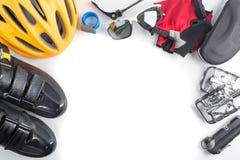 La bici e gli accessori di sport, il confine e la struttura di riciclaggio, copia s Immagini Stock