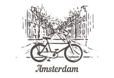 La bici en el fondo de las calles de Amsterdam con un canal de agua libre illustration