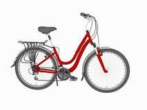 La bici rossa della famiglia ha isolato Immagine Stock
