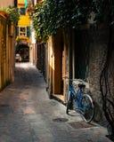 La bicicleta en el callejón imagenes de archivo