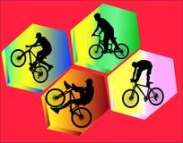 La bicicleta impide 1 con la silueta del fondo Foto de archivo libre de regalías