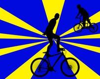 La bicicleta impide 1 con la silueta del vector del fondo Fotos de archivo