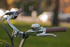 La bicicletta d'annata delle signore spinge dentro il parco della città Immagine Stock