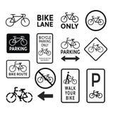 La bicyclette signe le vecteur noir et blanc d'ensemble Photographie stock libre de droits