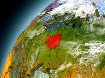 La Bielorussia dall'orbita di Earth di modello Immagini Stock