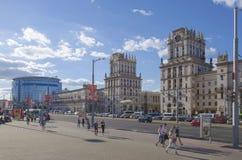 La Bielorussia, Minsk: Quadrato della stazione e via di Bobruyskaya Immagini Stock