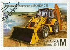 La BIELORUSSIA - 2015: mostra il caricatore dell'escavatore a cucchiaia rovescia, serie della costruzione a macchina della Bielor Fotografia Stock