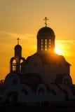 La Bielorussia, Zhodino, chiesa, tramonto fotografie stock libere da diritti