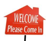 La bienvenue, veuillez venir dans le signe photographie stock libre de droits
