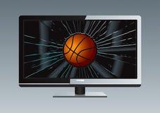 La bille cassée par TV d'affichage à cristaux liquides a placé 3 Photos libres de droits