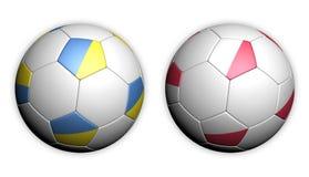 La bille de football avec la Pologne et l'Ukraine marquent l'euro 2012 Photos stock