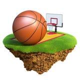 La bille, le panneau arrière, le cercle et la cour de basket-ball ont basé o Photo libre de droits