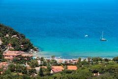 La Biodola海滩, Procchio,厄尔巴岛海岛。意大利 免版税库存照片
