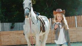 La bionda abbastanza piccola cammina al cavallo sull'arena lentamente stock footage