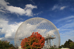 La biosphere in Montreal. La biosphere is a museum of evironment on the island of St Helene in Saint Lawrence Rive near the old harbor of Montreal stock image