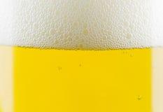 La birra bolle primo piano in vetro Immagine Stock