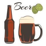 La birra d'annata ha messo - bottiglia e calice con il luppolo illustrazione vettoriale