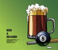 La birra ed il biliardo hanno illustrato il manifesto Fotografia Stock
