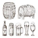 La birra inscatola l'illustrazione di vettore di vetro e delle bottiglie illustrazione vettoriale