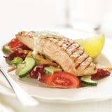 La bistecca di color salmone arrostita è servito sul pomodoro e sul cetriolo del letuce Immagine Stock