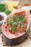 La bistecca di color salmone, il limone e le spezie freschi hanno preparato per cucinare Fotografie Stock Libere da Diritti