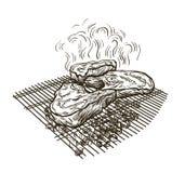 La bistecca succosa ha fritto su una griglia sui carboni illustrazione vettoriale