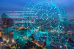 La blanco de laser cibernética en una ciudad de la noche empañó el fondo ilustración del vector