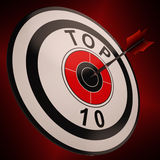 La blanco del Top Ten muestra mejor en cartas Fotos de archivo