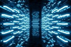 la bleu-teinte du rendu 3D a illuminé le couloir avec la lampe au néon bleue Lampe au néon futuriste élégante sur le mur Photos libres de droits