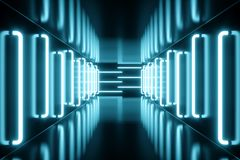 la bleu-teinte du rendu 3D a illuminé le couloir avec la lampe au néon bleue Lampe au néon futuriste élégante sur le mur Images stock