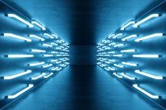 la bleu-teinte du rendu 3D a illuminé le couloir avec la lampe au néon bleue Lampe au néon futuriste élégante sur le mur Photographie stock