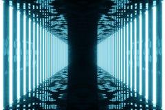 la bleu-teinte du rendu 3D a illuminé le couloir avec la lampe au néon bleue Lampe au néon futuriste élégante sur le mur Photo libre de droits