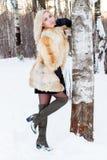La blonde dans le manteau de fourrure, bottes pose près du  h de birÑ extérieur à l'hiver DA Images libres de droits