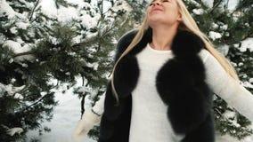 La blonde fantastique est tournée sur le fond des pins couverts par neige banque de vidéos