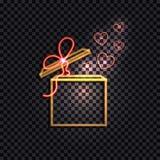 La boîte au néon jaune brillante de vecteur avec l'arc rouge et les coeurs, icône de boîte-cadeau ont isolé illustration stock