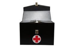 La boîte de kit de premiers secours à l'arrière-plan blanc ou au fond d'isolement, cas d'urgence a utilisé la boîte d'aide pour l photo stock