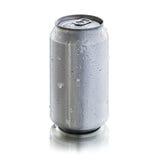 La boîte en aluminium avec la condensation se laisse tomber pour la moquerie  image stock