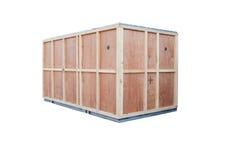 La boîte en bois de protection pour des importations-exportations de marchandises de récipient a isolé W Images stock