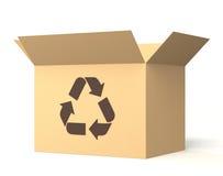 La boîte en carton avec réutilisent la marque Photo stock