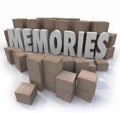 La boîte en carton de souvenirs Word se rappellent des périodes au delà Images stock