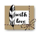 La boîte tirée par la main de présent de cadeau avec l'arc de ficelle, la plume et le ` avec le ` d'amour textotent Emballage de  Photos stock