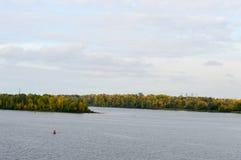 La boa rossa galleggia contro lo sfondo degli alberi sul immagine stock