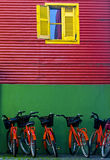 La Boca. Bicycles in the Colorful neighbourhoud of La Boca, Bueonos Aires, Argentina Stock Images